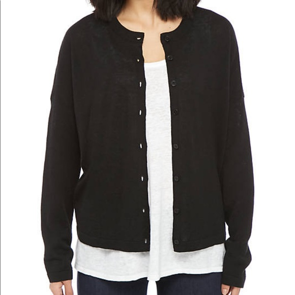 NWT Eileen fisher black round neck cardigan
